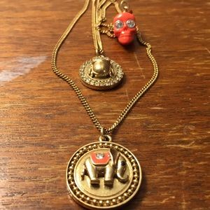 Juicy Couture elephant, scarab, skull necklace